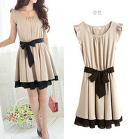 Khaki Japan Korea Women's Lotus Leaf Round Neck Chiffon Full Skirt Short Dress O