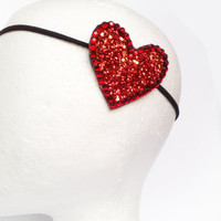 Red glitter heart headband fascinator with by JeSuisPrettyful