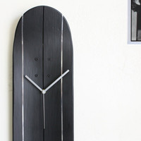 Black and Silver Skateboard Wood Deck Clock Art  for Him or Her