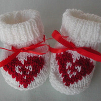 Hand Knit Baby Bootie Red Heart by BabywearbyBabs on Etsy