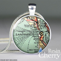 San Francisco map necklace,map pendant,map jewelry,map resin pendants,pendant charm- M0196CP
