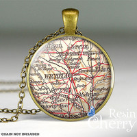Wichita map charm jewelrys,map necklace pendants,Wichita map resin pendant- M1031CP