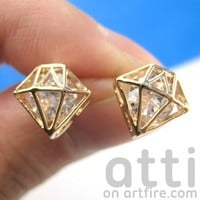 SMALL 3D Diamond Shaped Rhinestone Shiny Bling Stud Earrings in Gold