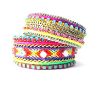 TWO friendship bracelet cuffs - neon friendship bracelet, stackable friendship bracelets