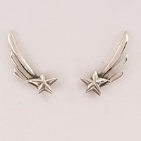 Sterling Silver Shooting Star Stud Earrings by MetalCoutureJewelry