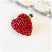 Valentines Adjustable ring imitation knitting Polymer clay