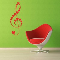 Treble Clef of Hearts Vinyl Wall Art Decal by VinylWallAccents
