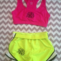 Monogrammed Hot Pink Sports Bra and Running Shorts Package
