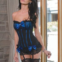 BLACK BLUE GATHERED LACE BOW MESH INTIMATE CORSET TOP @ Amiclubwear Intimates Clothing online store:Lingerie,Corset,Bustier,Women's Intimates,Sexy Intimate,Corset Intimates,intimates underwear,sheer intimates,silk intimates,intimates bras,holiday underwea