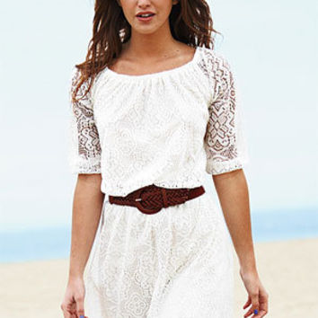 Allover Long-Sleeve Lace Dress