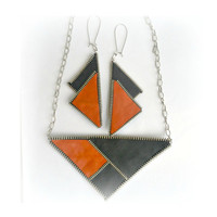 Geometric Necklace Jewelry Triangle Necklace and earrings, Leather, leatherette and zipper, Orange and Black, eco friendly, recycled jewelry