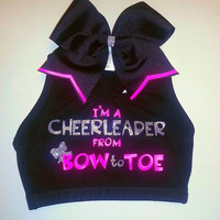 I&#x27;m A Cheerleader From Bow to Toe Sports Bra With Matching Bow