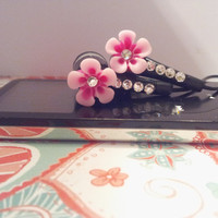 Pretty in pink petal flower black earbuds with by HoneyBadgerBuds