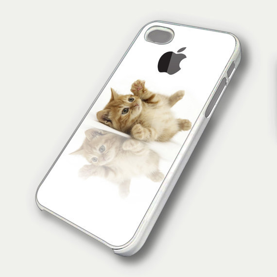 Funny Cute Kitten Apple Logo TM00 iPhone 5 Case - iPhone 4 / 4S Case