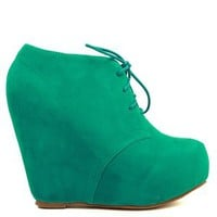 A'GACI Camilla 1 Lace Up Wedge Bootie - WEDGES