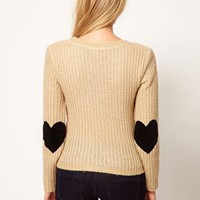 Love Jumper with Heart Elbow Patches at asos.com
