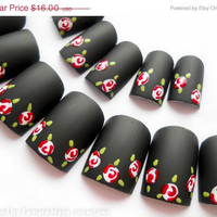 ON SALE Matte Black Romantic Vintage Roses Fake Nails