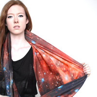SAMPLE SALE. Crimson Galaxy Circle Scarf, Infinity Scarf, Cowl Scarf, Organic Cotton.