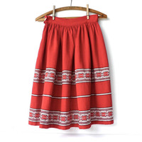 Scandinavian Norway Red Skirt 24 to 25 Inch Waist
