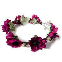 Crown and Glory Hair Accessories  Anemone Floral Crown - Burgundy