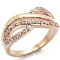 Clear Cubic Zirconia Rose Gold Brass Ring #2