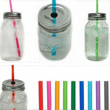 The Country Barrel — 5 Large Mason Jar Tumbler - You Pick Straw Colors