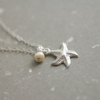 Sterling silver starfish & pearl necklace - small dainty everyday jewelry by AmiesAmies