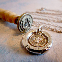 "Bee Silent Mini Wax Seal Necklace. Recycled Fine Silver Victorian Pendant. 18"" Sterling Silver Curb Chain"