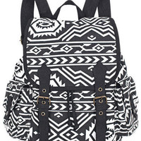 Black &amp; White Aztec Graphic Backpack