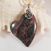 Crazy Lace Agate Heart Pendant Jewelry