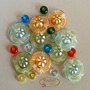 Flower Glass Beads, Lampwork Flower Beads, Handmade Lampwork Glass Disc Beads Set (21)