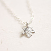 Tiny sterling silver maple leaf necklace - simple dainty jewelry by AmiesAmies