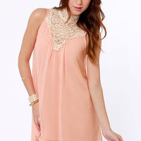 Yore's Truly Beige and Peach Lace Dress