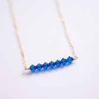 Wish - cobalt blue swarovski crystal beaded bar gold necklace - delicate gold filled jewelry AmiesAmies