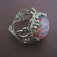 Pink Fire Opal Adjustable Ring Silver Plated by Azeetadesigns