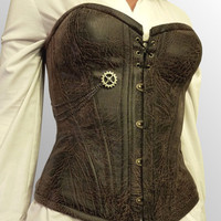 Custom Steampunk Faux Distressed Leather Corset by LillysWorkshop
