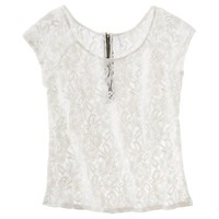 Xhilaration Juniors Zip Back Lace Top - Assorted colors