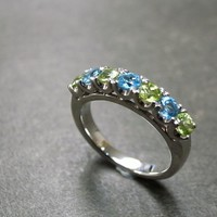 Blue Topaz And Peridot Wedding Ring on Luulla