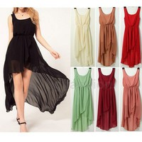 2012 NEW Women's Sexy Sleeveless Irregular Chiffon Skirt Long Dress 7 Colors Hot