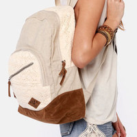 Roxy Lately Beige Linen and Lace Backpack