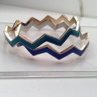Set of Two Chevron Zig Zag Stackable Bangle Set Blue and Teal