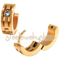 Jewelry 316 Stainless Steel PVD Gold Tone Inlay Solitaire Huggie Hoop Earrings - JP09564 $ 12.90 : Steel Jewelry Steel Earrings