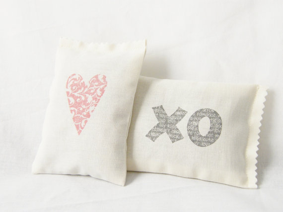 Valentine Sachets Heart XO Jasmine Lavender Rose by gardenmis