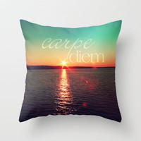 carpe diem Throw Pillow by Sylvia Cook Photography | Society6