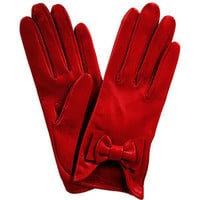Red Leather Bow Gloves - Polyvore