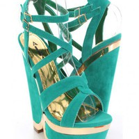 Green Gold Faux Suede Cross Strappy Mirrored Cut Out Wedges @ Amiclubwear Wedges Shoes Store:Wedge Shoes,Wedge Boots,Wedge Heels,Wedge Sandals,Dress Shoes,Summer Shoes,Spring Shoes,Prom Shoes,Women's Wedge Shoes,Wedge Platforms Shoes,floral wedges,Fashion