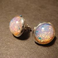 Silver Fire Opal Earring Studs (880)