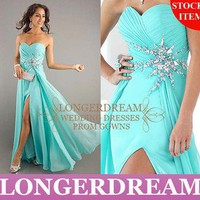 JEWELED Chiffon Front Slit Formal Evening Dress&Bridesmaid Gown&Sz 6 8 10 12 14