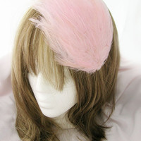 Bridesmaid hair accessory feather headband fascinator - Baby Pink feather - CHOOSE headband, comb, or hair clip