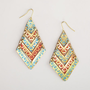 Blue and Red Triangle Tier Earrings